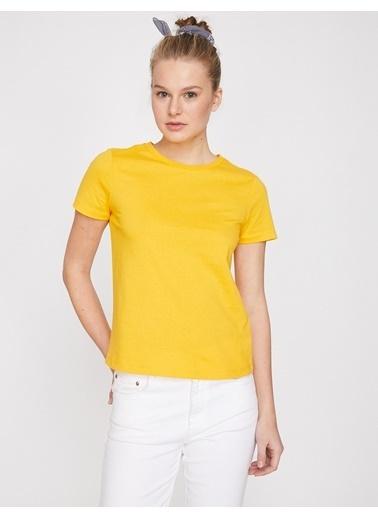 Koton Bisiklet Yaka T-Shirt Sarı